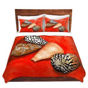 Artistic Duvet Covers and Shams Bedding | Marley Ungaro - Cone Shells | Ocean seashell still life nature