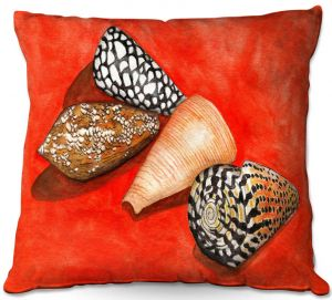 Decorative Outdoor Patio Pillow Cushion | Marley Ungaro - Cone Shells | Ocean seashell still life nature