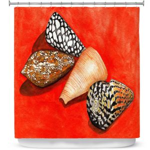 Premium Shower Curtains | Marley Ungaro - Cone Shells | Ocean seashell still life nature