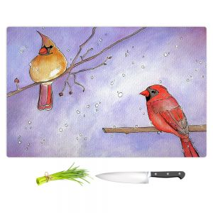 Artistic Kitchen Bar Cutting Boards | Marley Ungaro - Cordial Cardinals | Bird nature branch winter