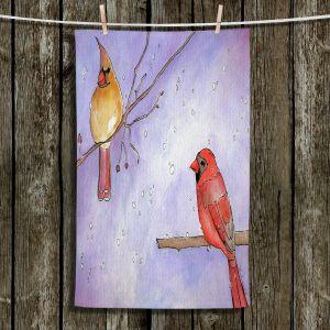 Unique Hanging Tea Towels | Marley Ungaro - Cordial Cardinals | Bird nature branch winter