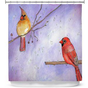 Premium Shower Curtains | Marley Ungaro - Cordial Cardinals | Bird nature branch winter