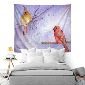 Artistic Wall Tapestry | Marley Ungaro - Cordial Cardinals | Bird nature branch winter
