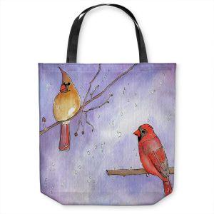 Unique Shoulder Bag Tote Bags | Marley Ungaro - Cordial Cardinals | Bird nature branch winter