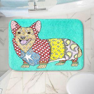 Decorative Bathroom Mats | Marley Ungaro - Corgi Dog Turquoise