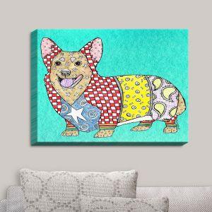 Decorative Canvas Wall Art   Marley Ungaro - Corgi Dog Turquoise