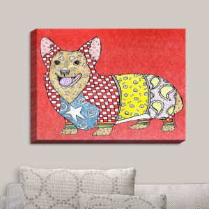 Decorative Canvas Wall Art | Marley Ungaro - Corgi Dog Watermelon