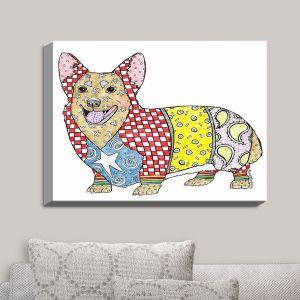 Decorative Canvas Wall Art | Marley Ungaro - Corgi Dog White