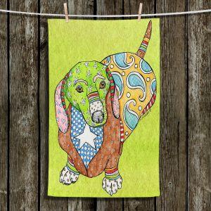 Unique Bathroom Towels | Marley Ungaro - Dachshund Lime | dog collage pattern quilt