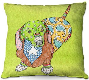 Throw Pillows Decorative Artistic | Marley Ungaro - Dachshund Lime | dog collage pattern quilt