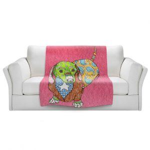 Artistic Sherpa Pile Blankets   Marley Ungaro - Dachshund Dog Pink