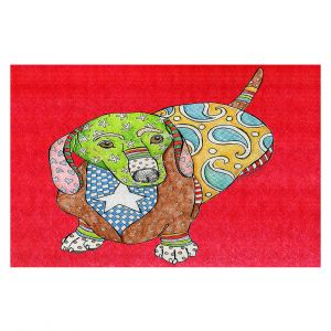 Decorative Floor Covering Mats | Marley Ungaro - Dachshund Red | dog collage pattern quilt