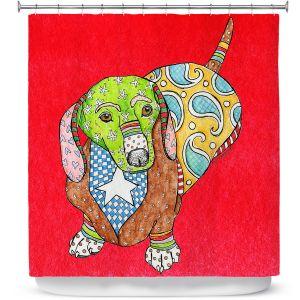 Premium Shower Curtains | Marley Ungaro - Dachshund Red | dog collage pattern quilt
