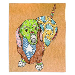 Artistic Sherpa Pile Blankets | Marley Ungaro - Dachshund Tan | dog collage pattern quilt