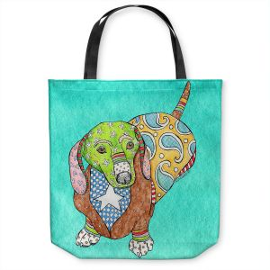 Unique Shoulder Bag Tote Bags | Marley Ungaro - Dachshund Turquoise | dog collage pattern quilt