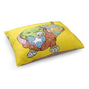 Decorative Dog Pet Beds | Marley Ungaro - Dachshund Yellow | dog collage pattern quilt