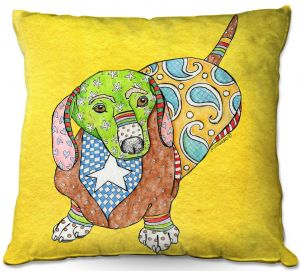 Throw Pillows Decorative Artistic | Marley Ungaro - Dachshund Yellow | dog collage pattern quilt