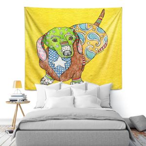 Artistic Wall Tapestry   Marley Ungaro - Dachshund Yellow   dog collage pattern quilt
