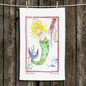 Unique Hanging Tea Towels   Marley Ungaro - Dancing Mermaid   Cute Mermaid Artwork