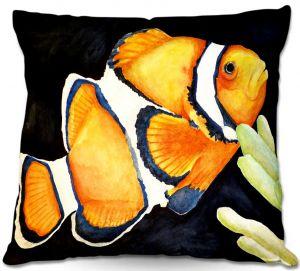 Decorative Outdoor Patio Pillow Cushion | Marley Ungaro - Deep Sea Life- Clown Fish