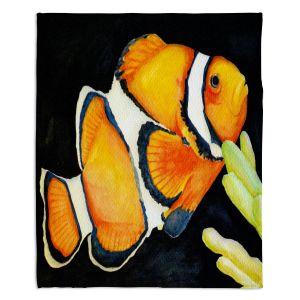 Decorative Fleece Throw Blankets | Marley Ungaro - Deep Sea Life - Clown Fish