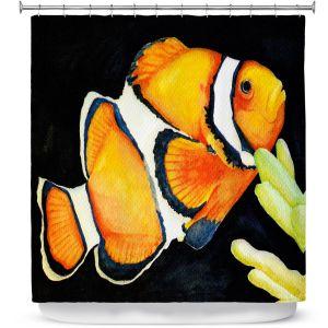 Premium Shower Curtains | Marley Ungaro Deep Sea Life - Clown Fish