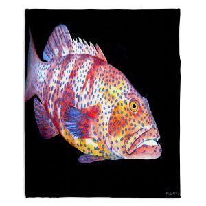 Artistic Sherpa Pile Blankets | Marley Ungaro Deep Sea Life - Grouper Fish