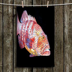 Unique Hanging Tea Towels | Marley Ungaro - Deep Sea Life- Grouper Fish | Tropical Fish