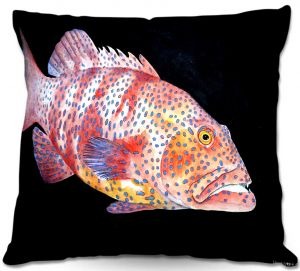 Decorative Outdoor Patio Pillow Cushion | Marley Ungaro - Deep Sea Life- Grouper Fish