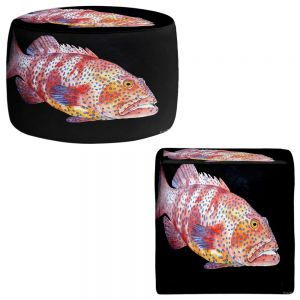 Round and Square Ottoman Foot Stools | Marley Ungaro - Deep Sea Life- Grouper Fish