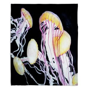 Artistic Sherpa Pile Blankets | Marley Ungaro Deep Sea Life - Jelly Fish