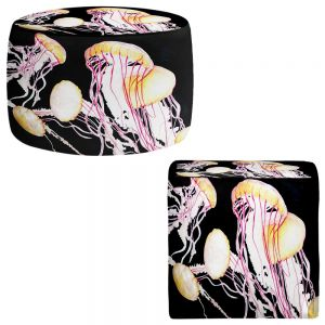 Round and Square Ottoman Foot Stools | Marley Ungaro - Deep Sea Life- Jelly Fish