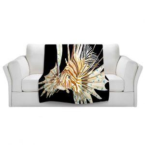 Artistic Sherpa Pile Blankets   Marley Ungaro Deep Sea Life - Lion Fish