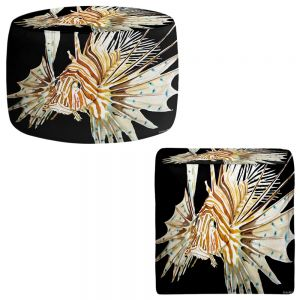 Round and Square Ottoman Foot Stools | Marley Ungaro - Deep Sea Life- Lion Fish