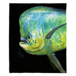 Artistic Sherpa Pile Blankets | Marley Ungaro Deep Sea Life - Mahi Mahi Fish