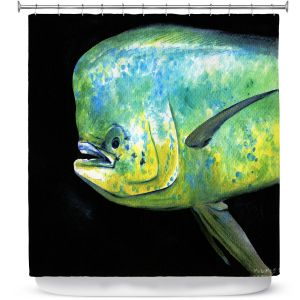 Premium Shower Curtains | Marley Ungaro Deep Sea Life - Mahi Mahi Fish