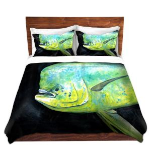 Artistic Duvet Covers and Shams Bedding | Marley Ungaro - Deep Sea Life- Mahi Mahi Fish