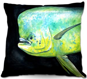 Decorative Outdoor Patio Pillow Cushion | Marley Ungaro - Deep Sea Life- Mahi Mahi Fish