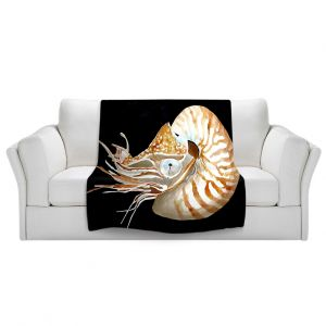 Artistic Sherpa Pile Blankets   Marley Ungaro Deep Sea Life - Nautilus