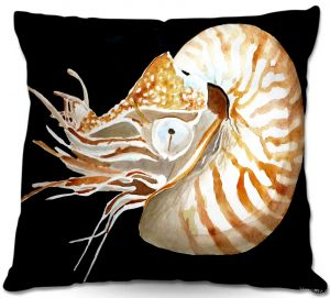Decorative Outdoor Patio Pillow Cushion | Marley Ungaro - Deep Sea Life- Nautilus