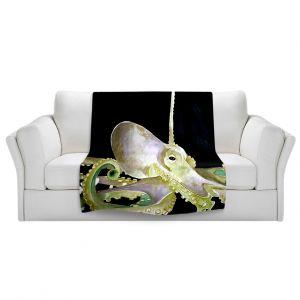 Artistic Sherpa Pile Blankets   Marley Ungaro Deep Sea Life - Octopus