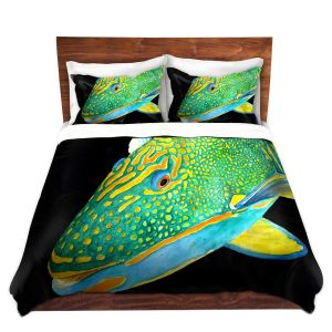 Artistic Duvet Covers and Shams Bedding | Marley Ungaro - Deep Sea Life- Parrot Fish