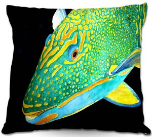 Unique Throw Pillows from DiaNoche Designs by Marley Ungaro - Deep Sea Life - Parrot Fish