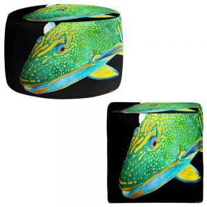 Round and Square Ottoman Foot Stools   Marley Ungaro - Deep Sea Life- Parrot Fish