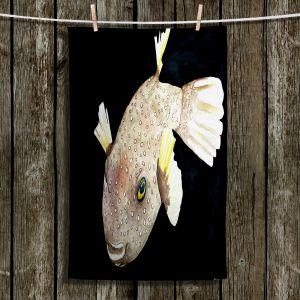 Unique Hanging Tea Towels | Marley Ungaro - Deep Sea Life- Puffer Fish | Tropical Fish