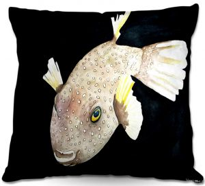 Decorative Outdoor Patio Pillow Cushion | Marley Ungaro - Deep Sea Life- Puffer Fish