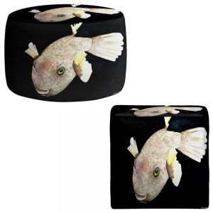 Round and Square Ottoman Foot Stools | Marley Ungaro - Deep Sea Life- Puffer Fish