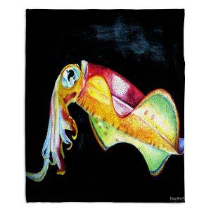 Artistic Sherpa Pile Blankets | Marley Ungaro Deep Sea Life - Squid
