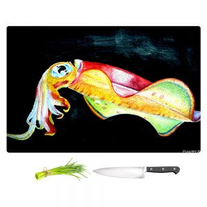 Artistic Kitchen Bar Cutting Boards | Marley Ungaro - Deep Sea Life - Squid