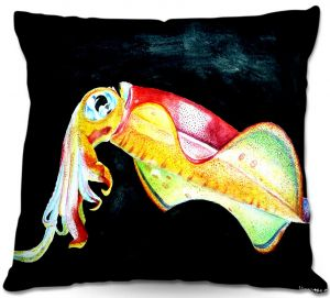 Decorative Outdoor Patio Pillow Cushion | Marley Ungaro - Deep Sea Life- Squid